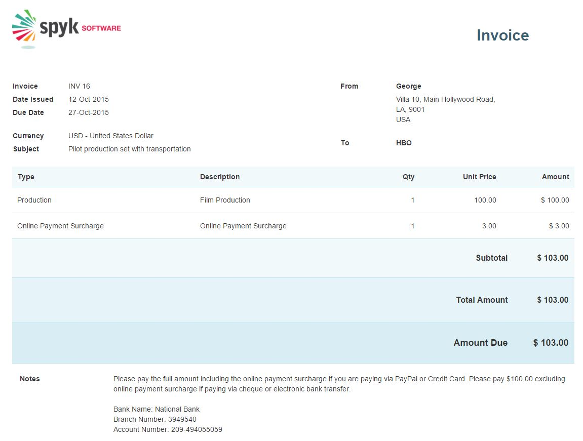 Pigbrotherus  Pleasing Invoicing  Avaza Support With Foxy Surcharge Invoice With Agreeable How To Write Up A Receipt Also Best Buy Receipt Scanner In Addition Item Receipt And Donation Receipts Templates As Well As Sales Receipt Books Part Additionally Auto Receipt Template From Supportavazacom With Pigbrotherus  Foxy Invoicing  Avaza Support With Agreeable Surcharge Invoice And Pleasing How To Write Up A Receipt Also Best Buy Receipt Scanner In Addition Item Receipt From Supportavazacom