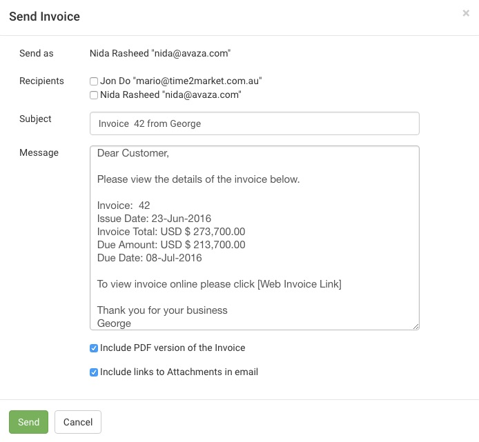 Email Invoices To Clients Avaza Support - Invoice message to client