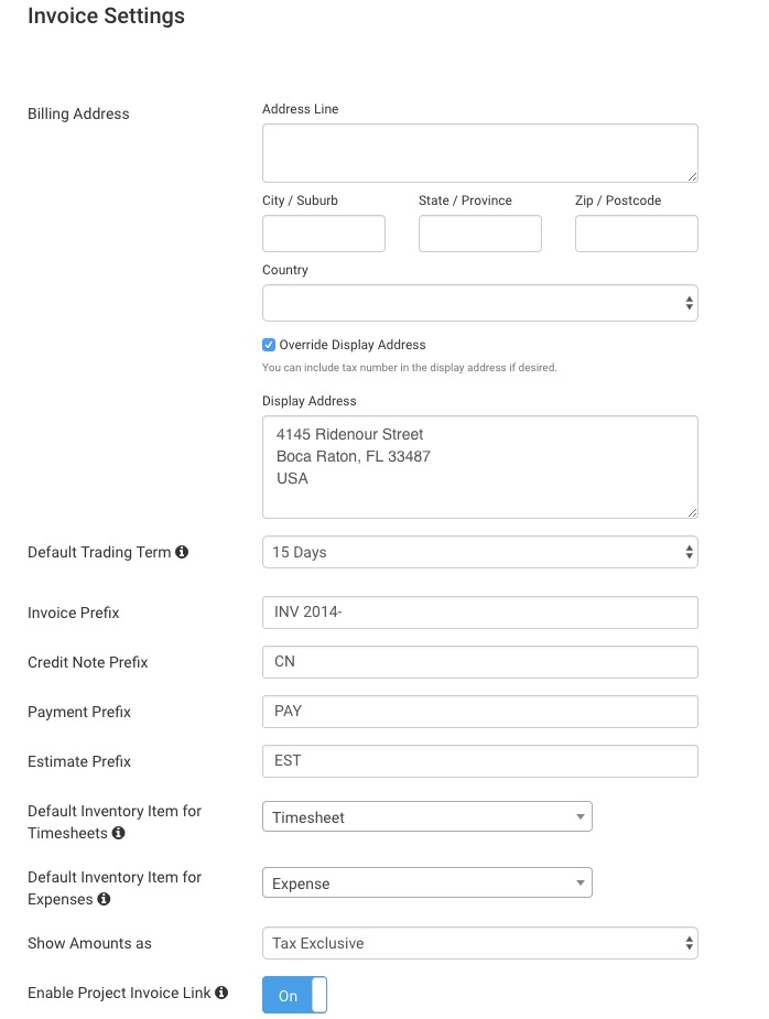 Getting Started With Invoices Avaza Support - Invoice address