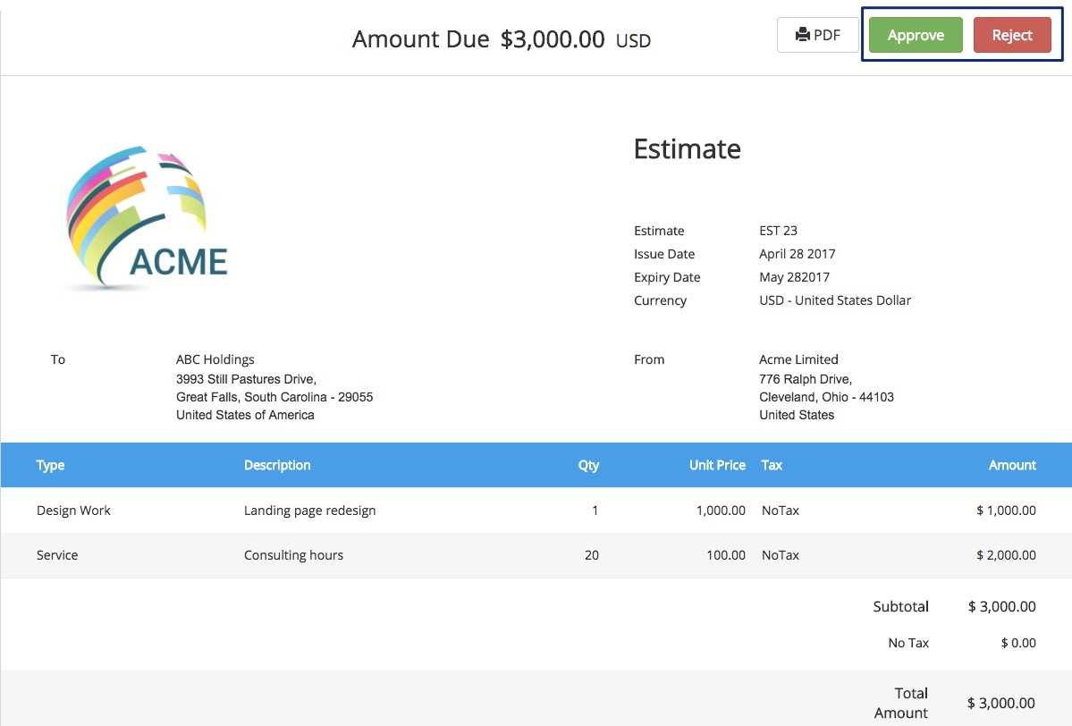 Approve estimate Accept or Decline Estimates