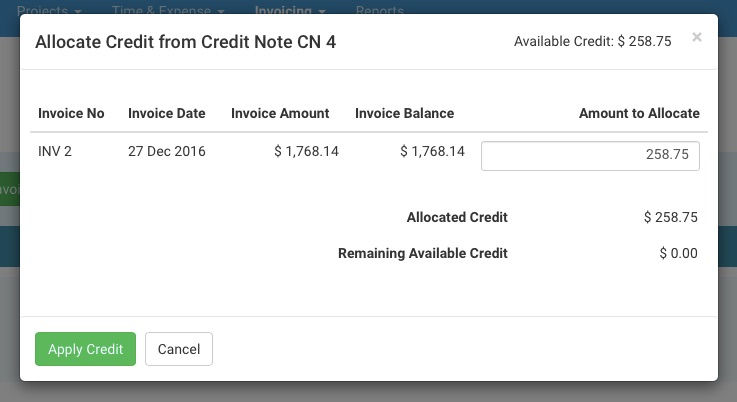 Working with credit notes avaza support apply credit to invoice altavistaventures Images